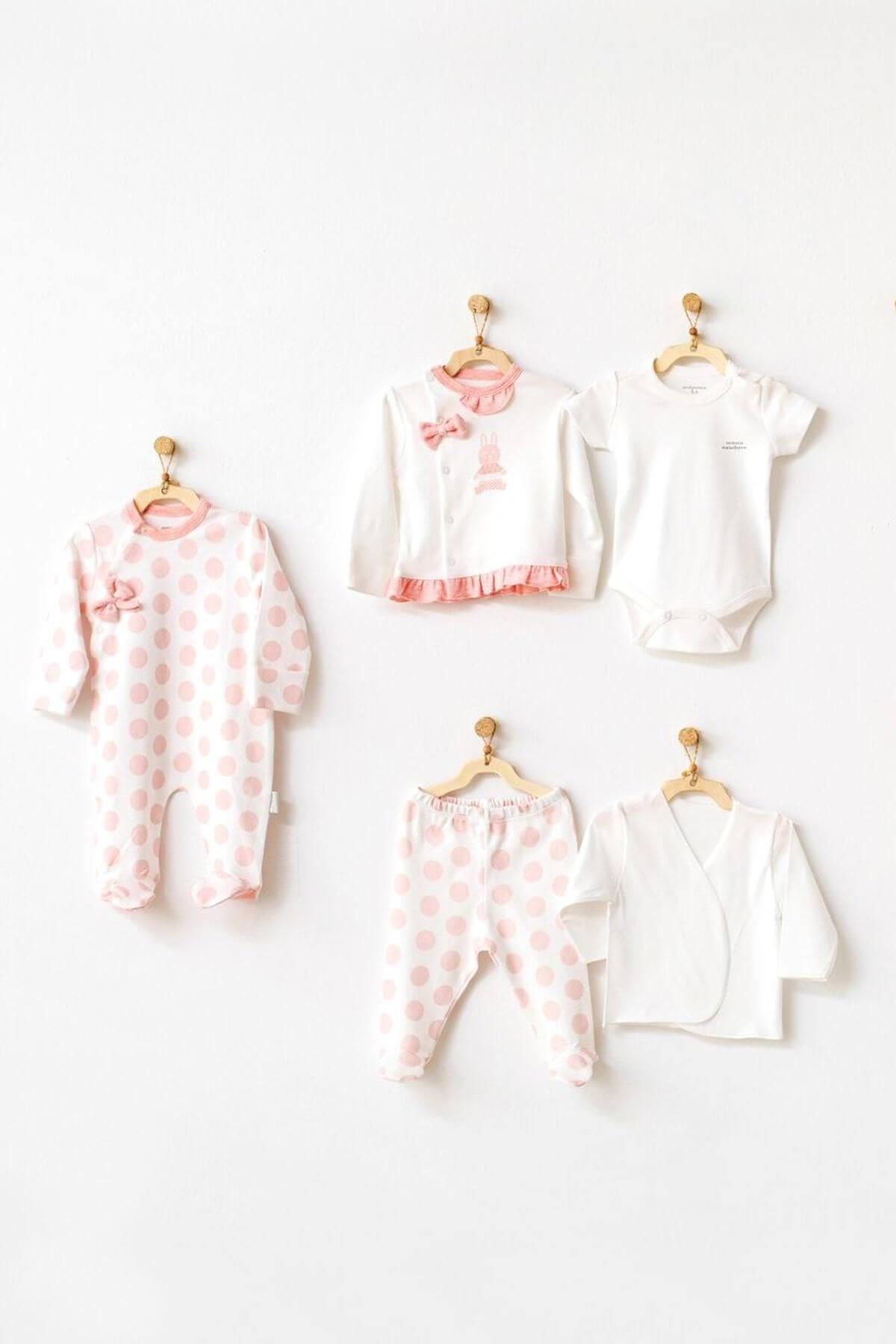 Andywawa AC21131 Polka Dot 10 Parça Zıbın Seti Bebek Hastane Çıkışı Ekru