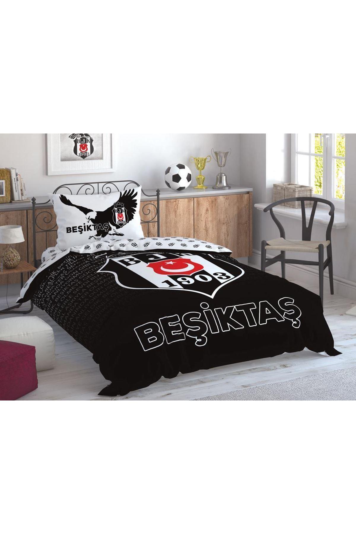 Taç Lisanslı Nevresim Takımı Tek Kişilik Beşiktaş Marşlı Logo
