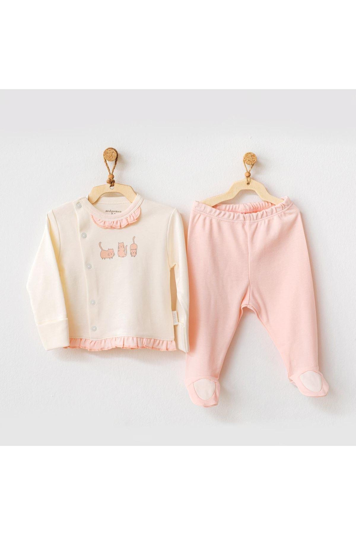 Andywawa AC21108 Meow 2li Bebek Takım Pink