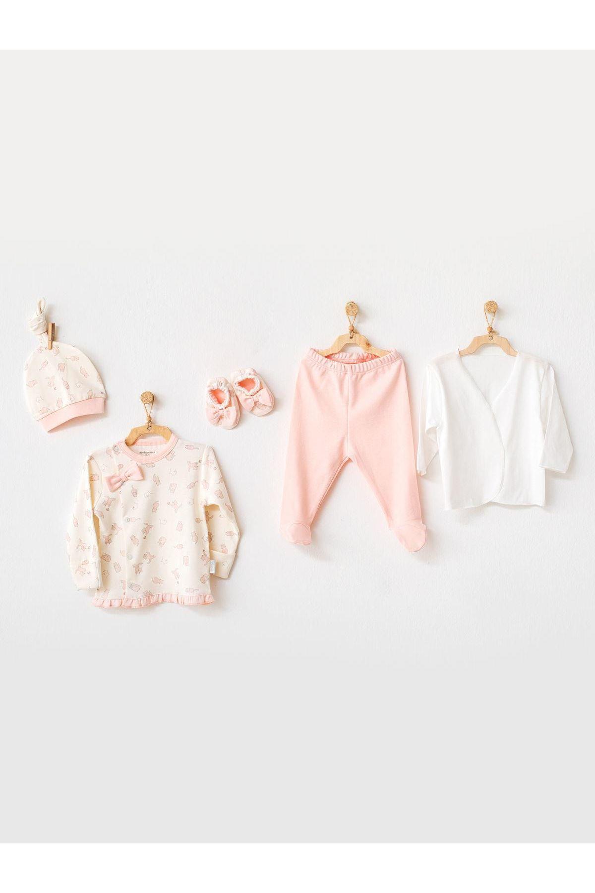 Andywawa AC21100 Meow 5 Parça Bebek Zıbın Seti Hastane Çıkışı Pink