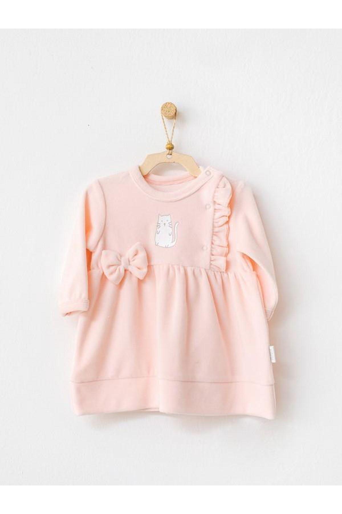 Andywawa AC21120 Meow Kadife Bebek Elbise Pink