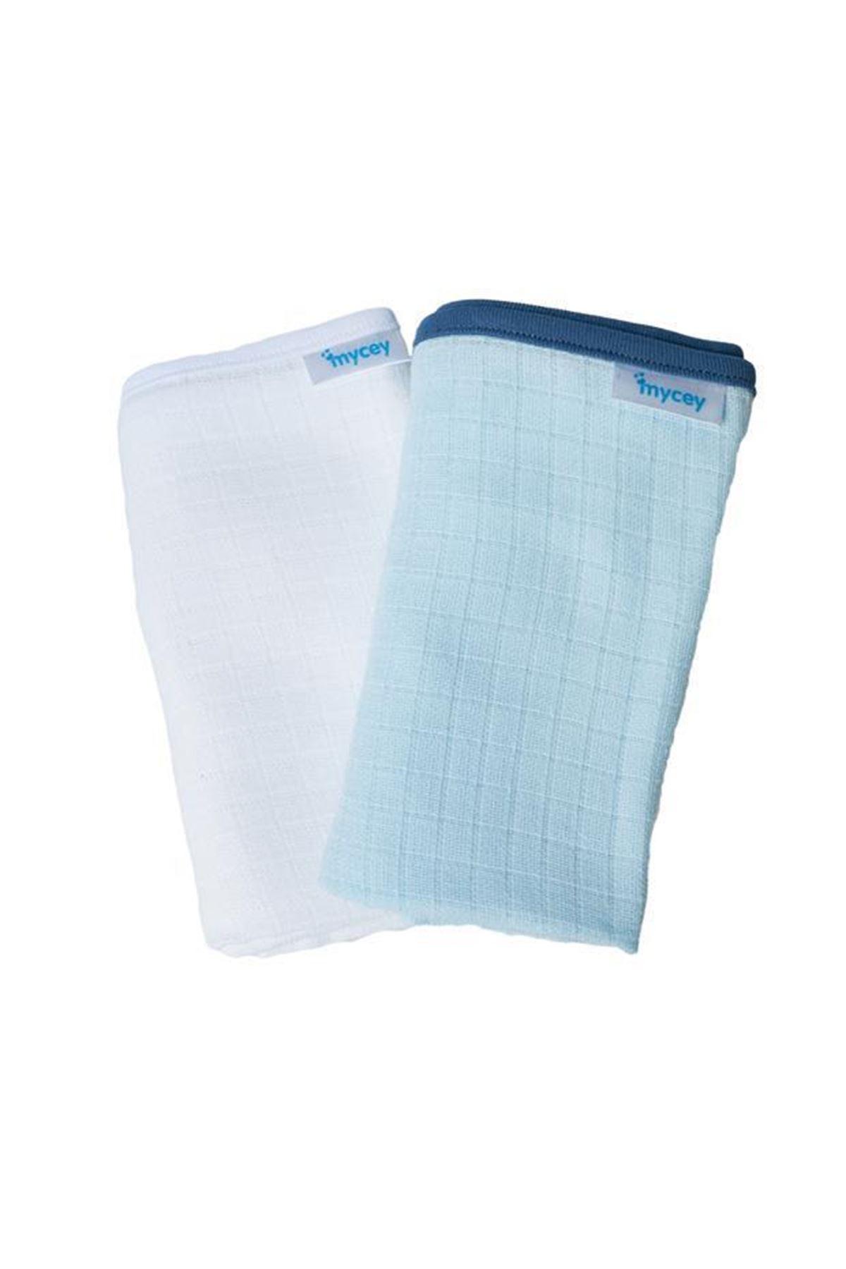 Mycey Çok Amaçlı Örtü Müslin Kumaş 2li Set Mavi-Beyaz