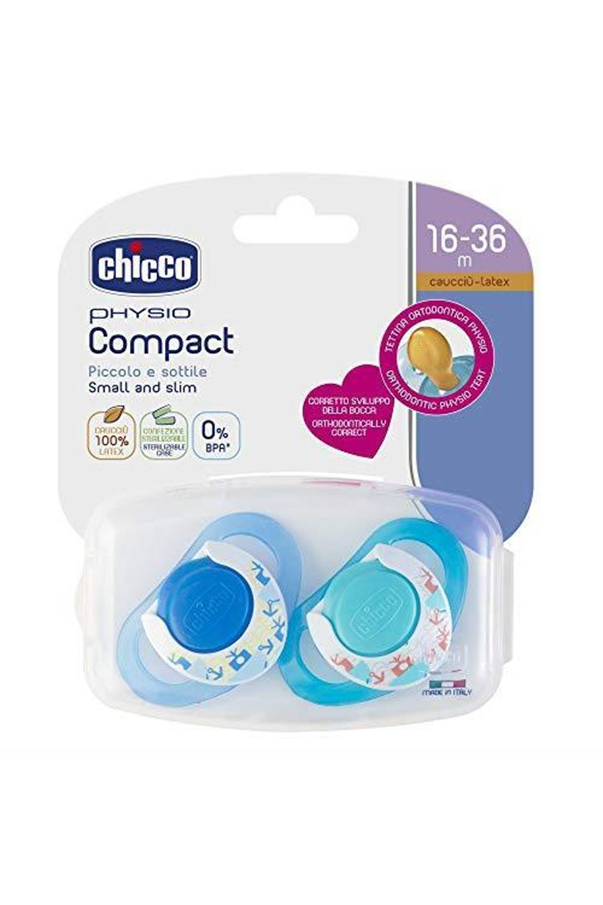 Chicco Physio Compact Kauçuk Emzik 16-36 Ay Erkek 2li