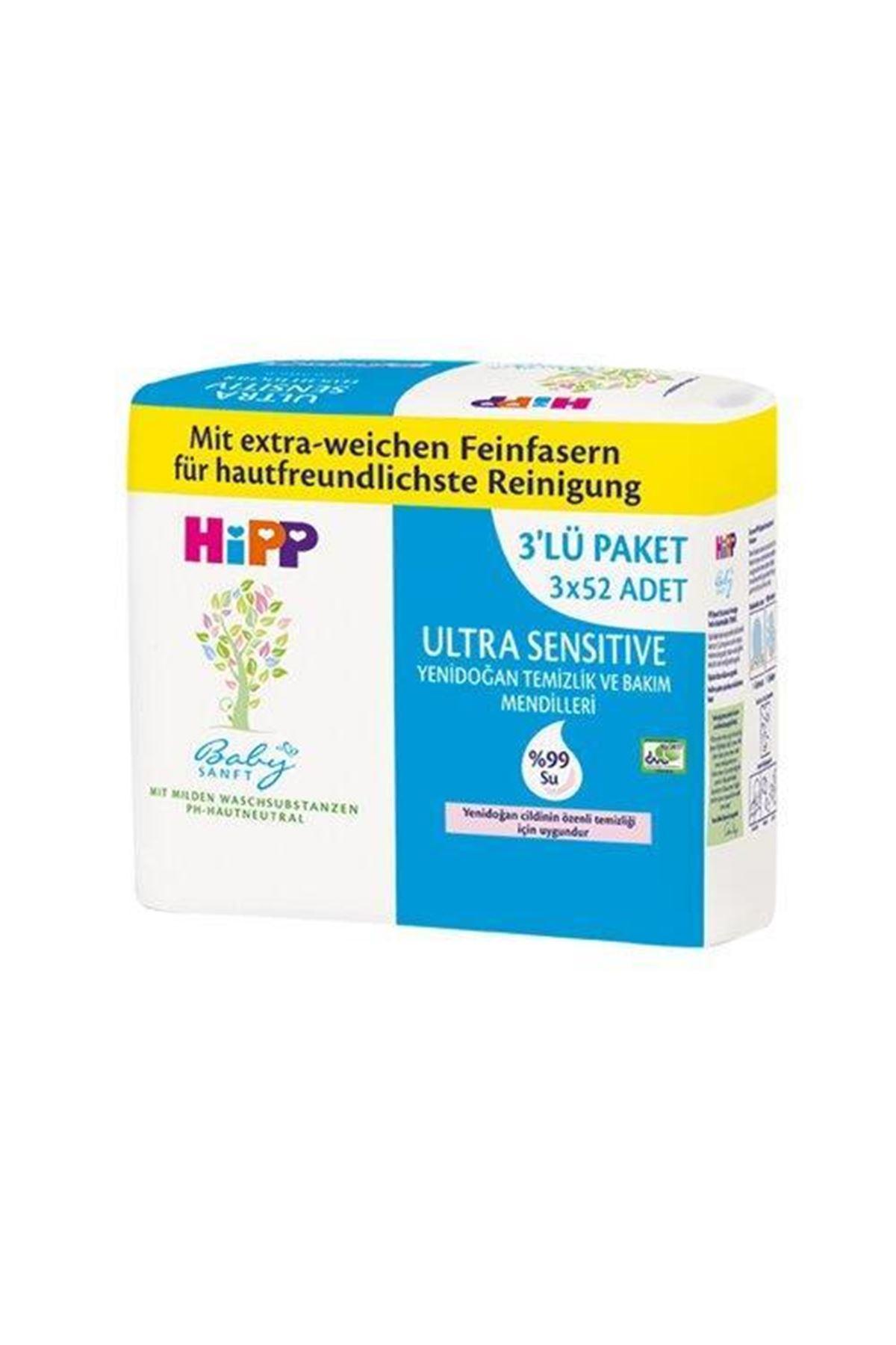 Hipp Yenidoğan Temizlik ve Bakım Mendili 3x52 156 Adet