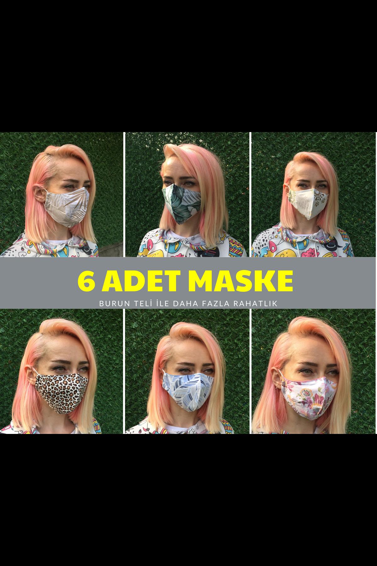 %100 Pamuklu Yıkanabilir Desenli  Bez Maskeler