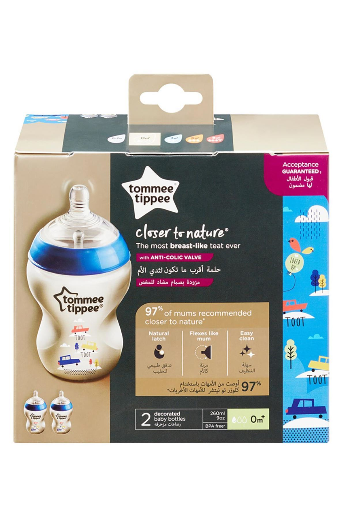 Tommee Tippee PP Closer To Nature Biberon 2li 260 ml Mavi