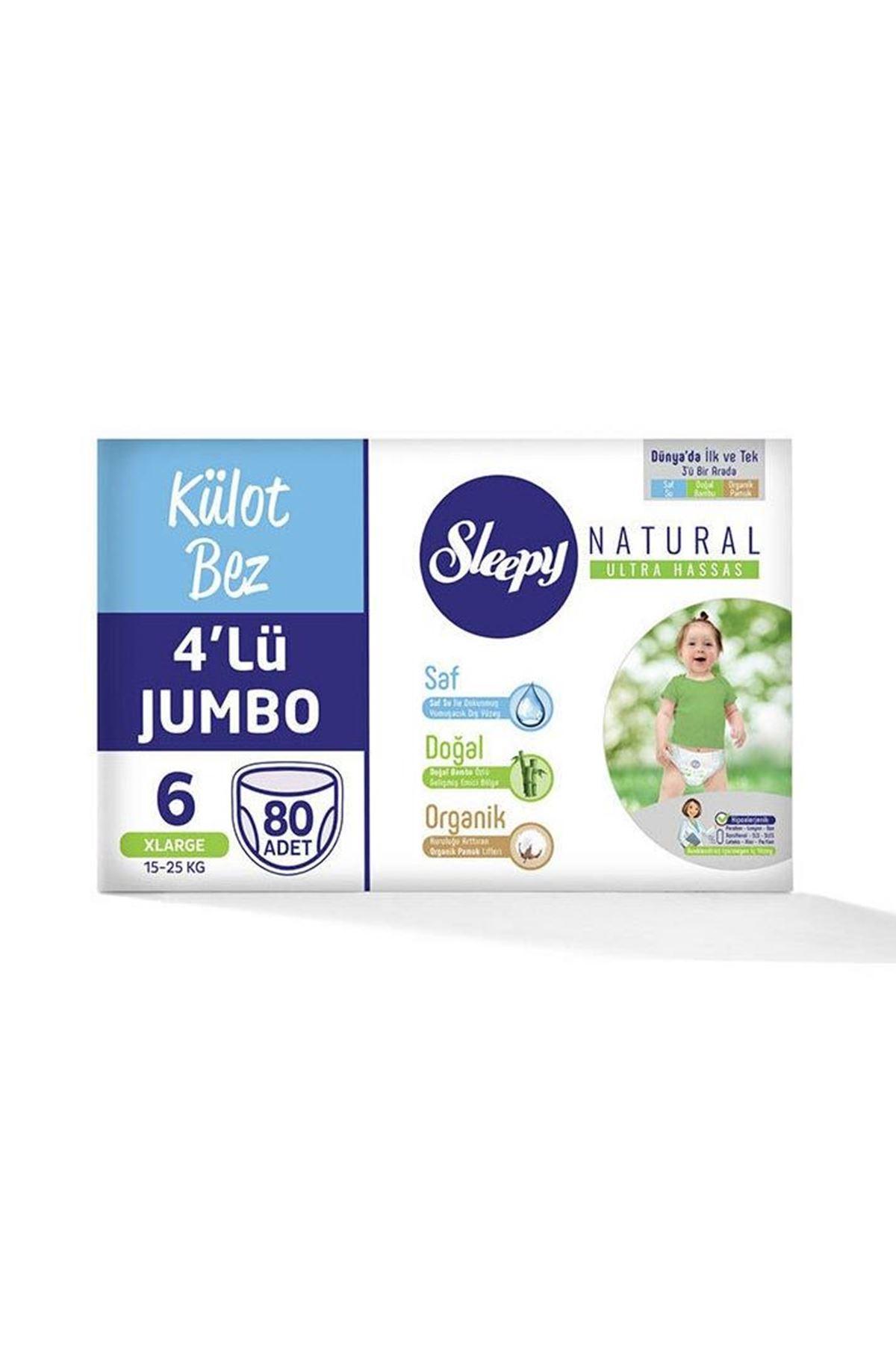 Sleepy Natural Külot Bez 4lü Jumbo 6 Beden 15-25 Kg 80 Adet