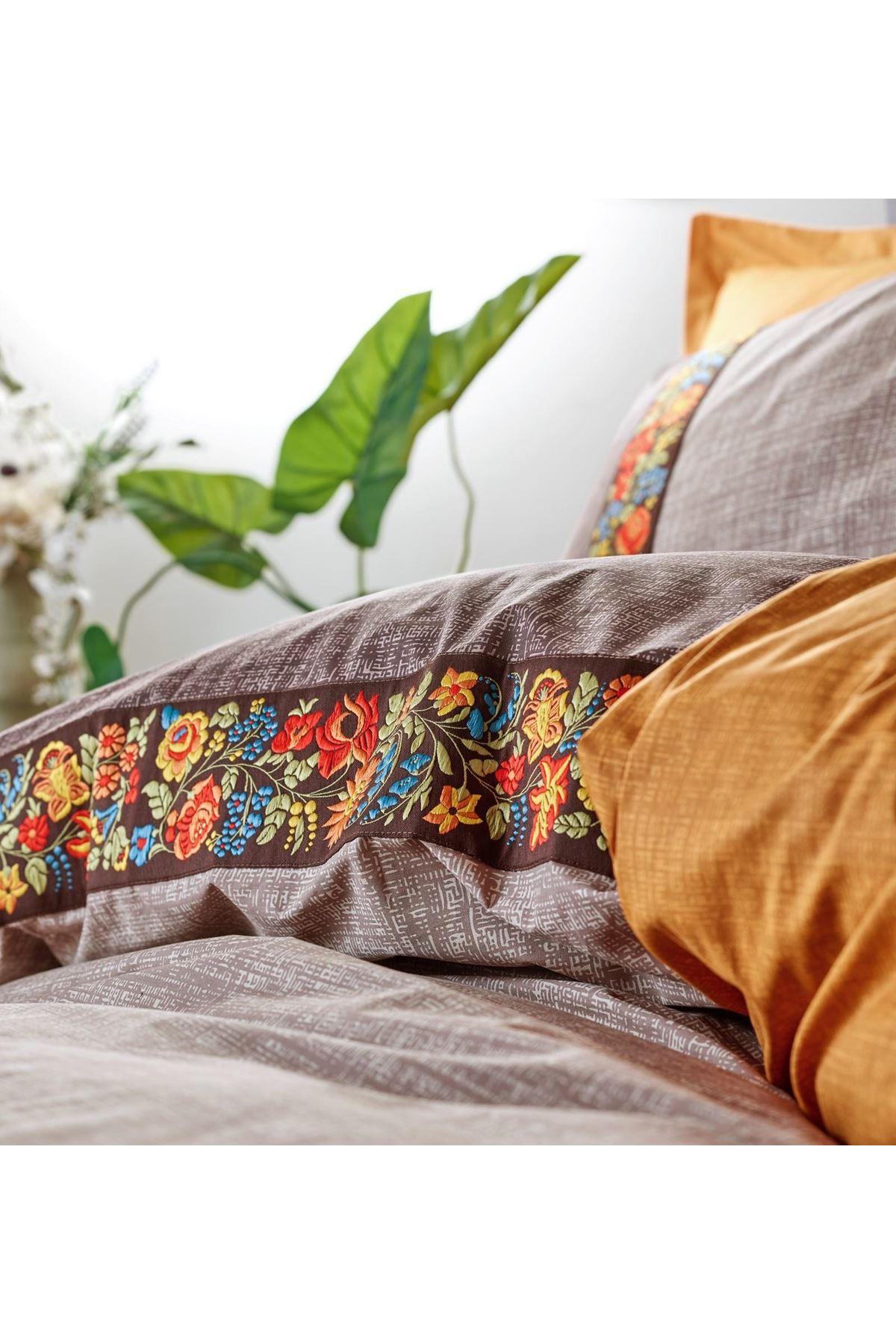 Cotton Box Folk Art Ranforce Nevresim Takımı Çift Kişilik Vizon