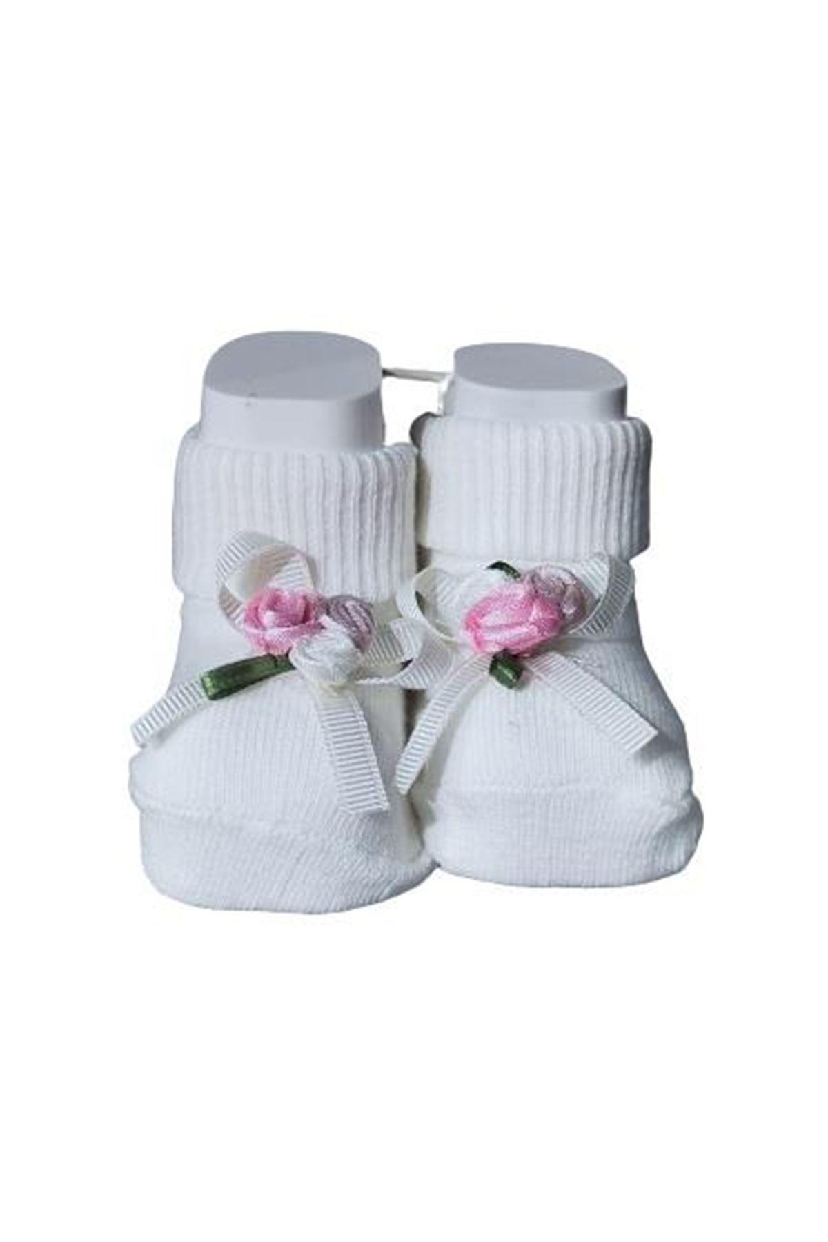 Albimini Minidamla Ayaklı Renkli Güllü Çorap 44596 Beyaz