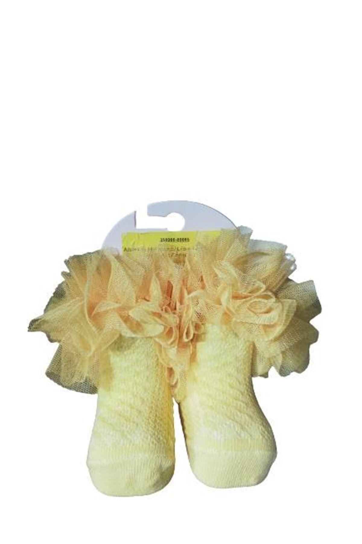 Albimini Minidamla Lüks Tüllü Kokoş Ayaklı Kız Çorap 42530 Sarı