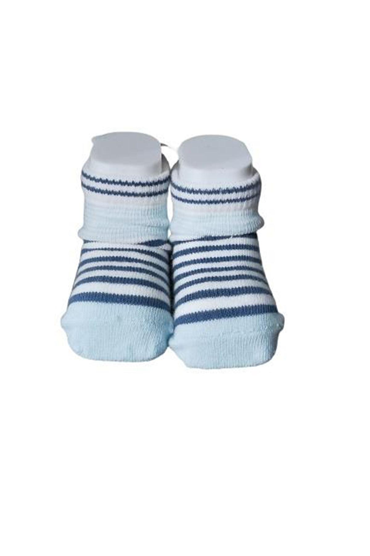 Albimini Minidamla Desenli Ayaklı Erkek Bebe Çorabı 44445 Karışık Renkli