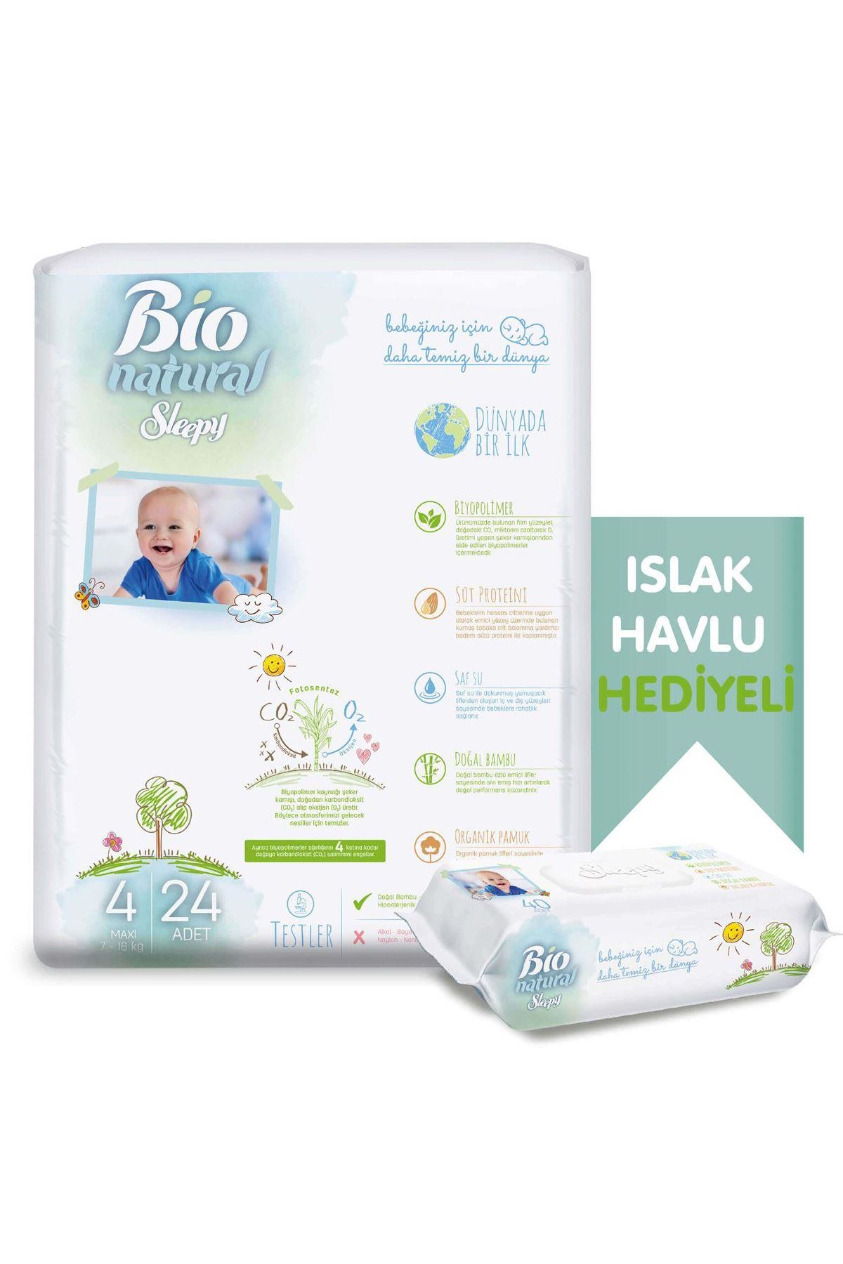 Sleepy Bio Naturel Bebek Bezi Jumbo 4 Beden 7-18 Kg 24 Adet (Islak Havlu Hediyeli)