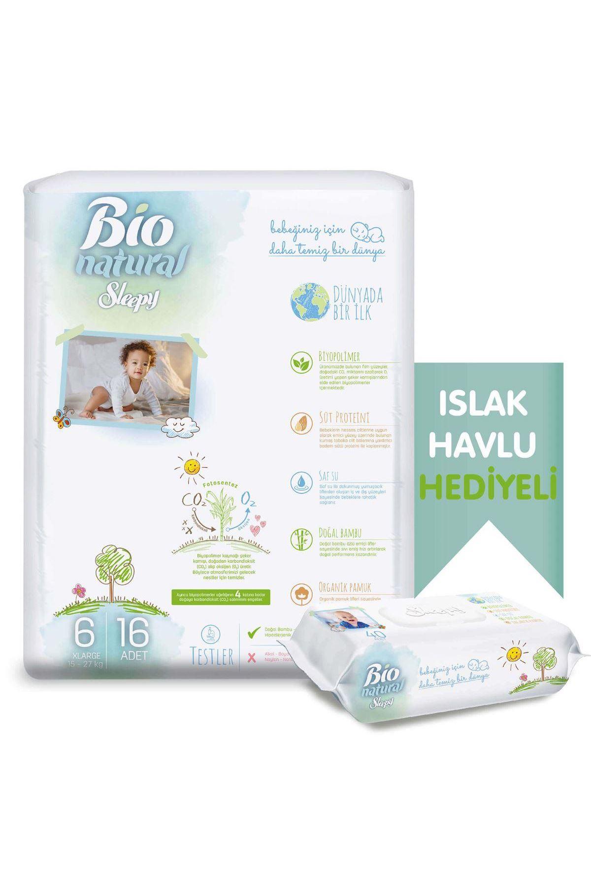 Sleepy Bio Naturel Bebek Bezi Jumbo 6 Beden 15-27 Kg 16 Adet (Islak Havlu Hediyeli)