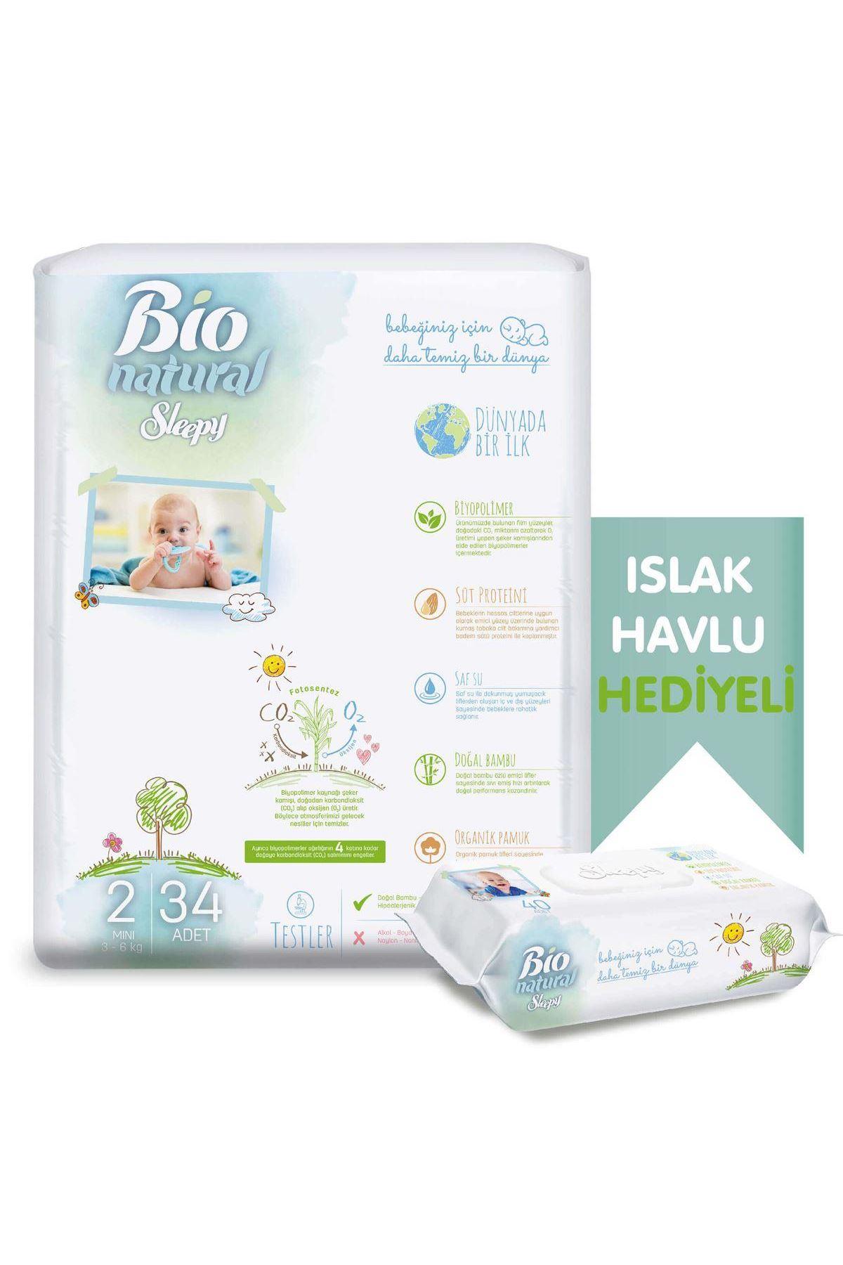 Sleepy Bio Naturel Bebek Bezi Jumbo 2 Beden 3-6 Kg 34 Adet (Islak Havlu Hediyeli)