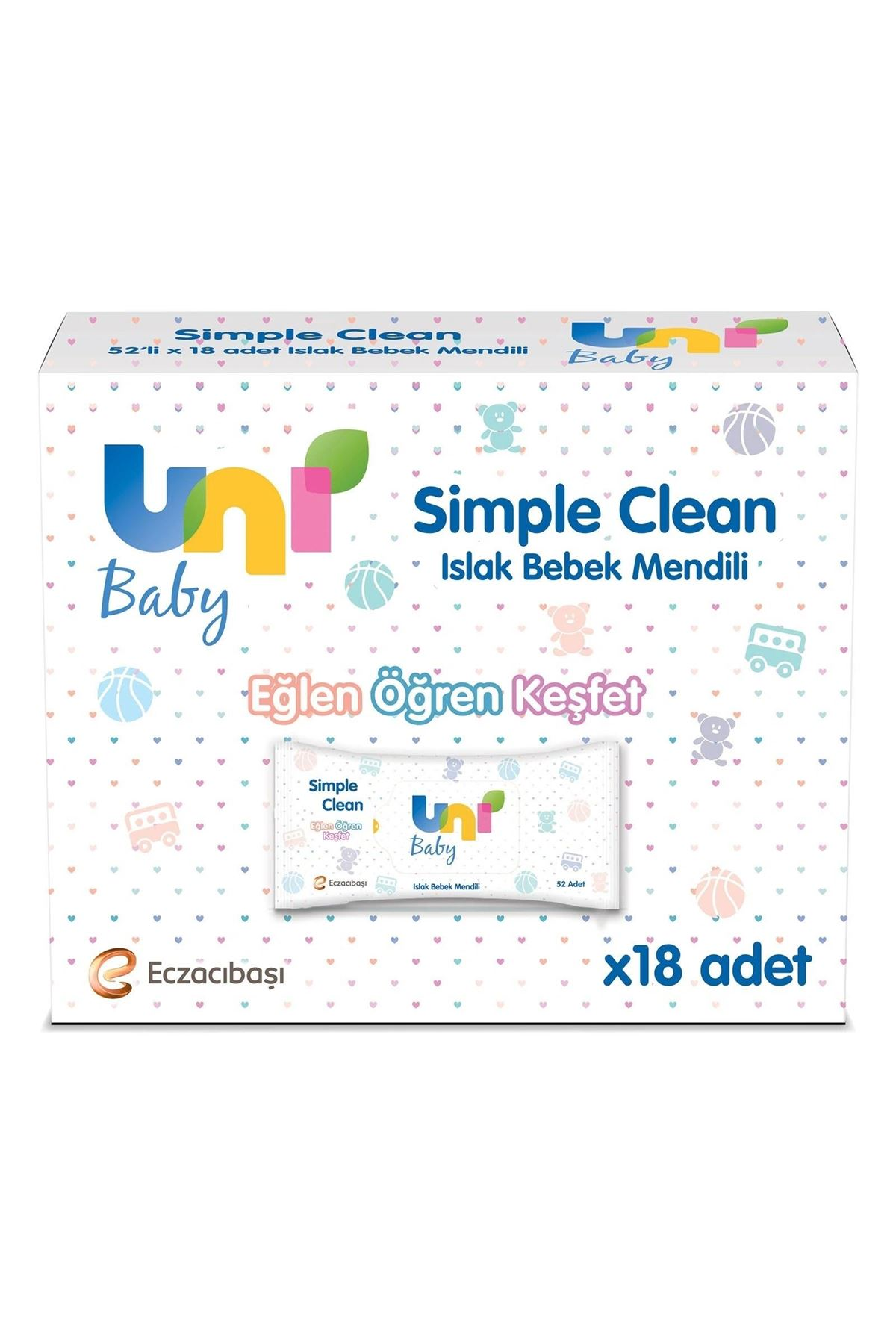 Uni Baby Simple Clean Islak Havlu Mendil Ekonomik Fırsat Paketi 18x52 (936 Yaprak)