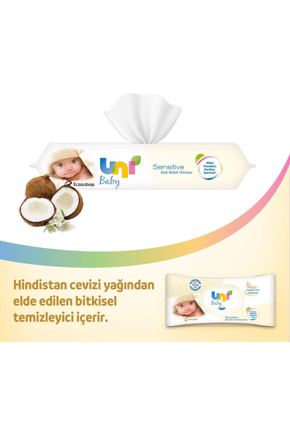 Uni Baby Sensitive Islak Havlu Mendil Ekonomik Fırsat Paketi 24x56 (1344 Yaprak)
