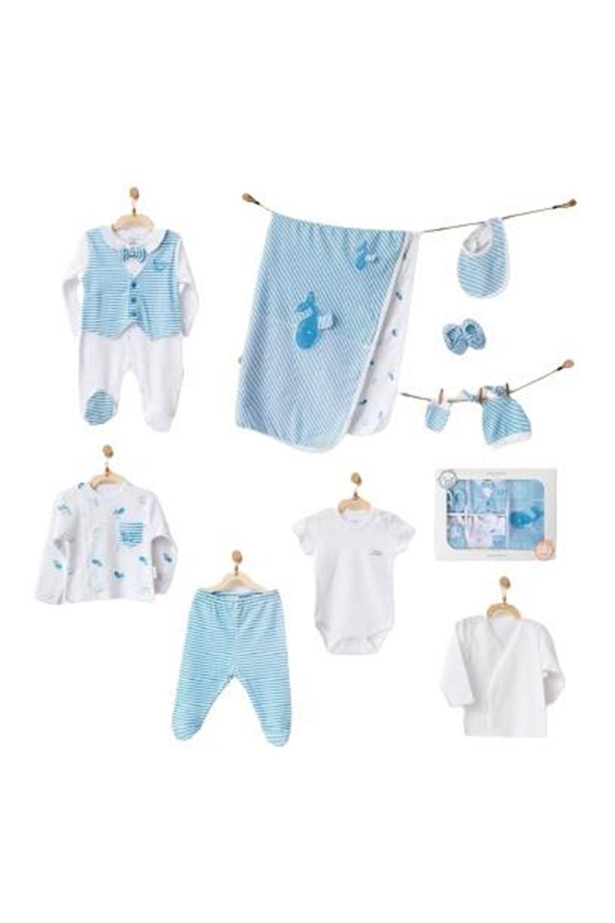 Andywawa AC21541 Cute Whale Newborn 10 Parça Zıbın Seti Blue