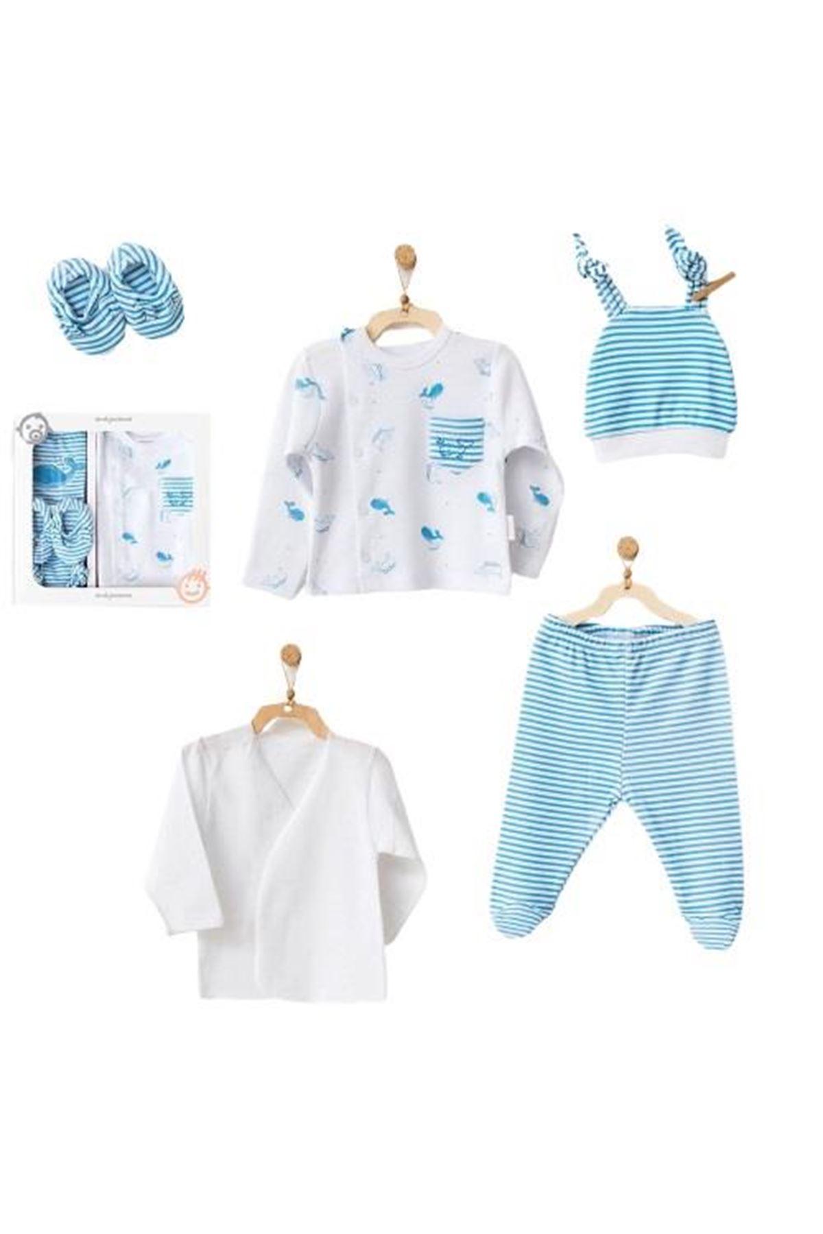 Andywawa AC21540 Cute Whale Newborn 5 Parça Zıbın Seti Blue