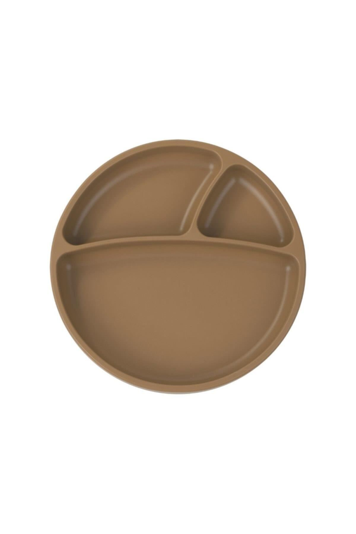 OiOi Porsiyon Vakum Tabanlı Silikon Tabak Brown