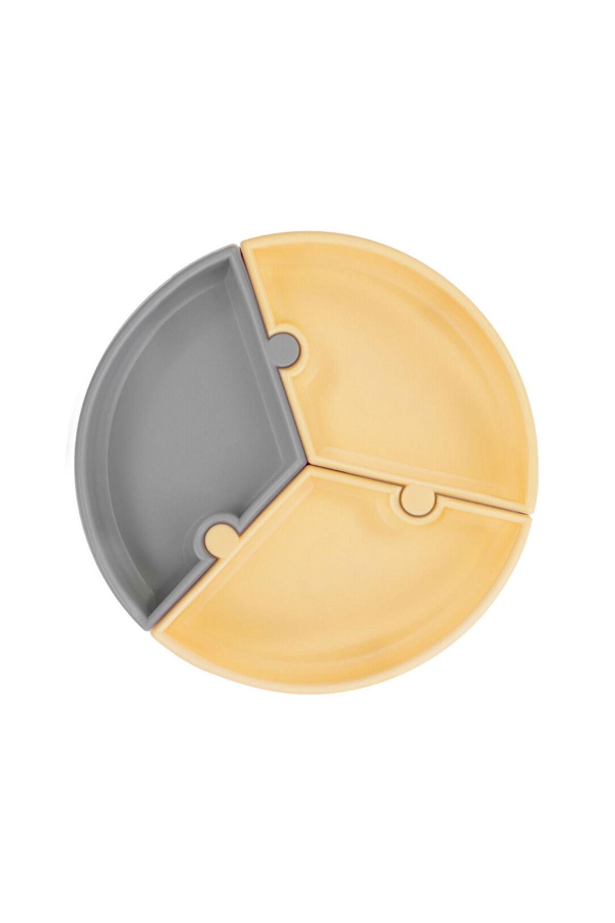 OiOi Puzzle Vakum Tabanlı Silikon Tabak Sarı Gri