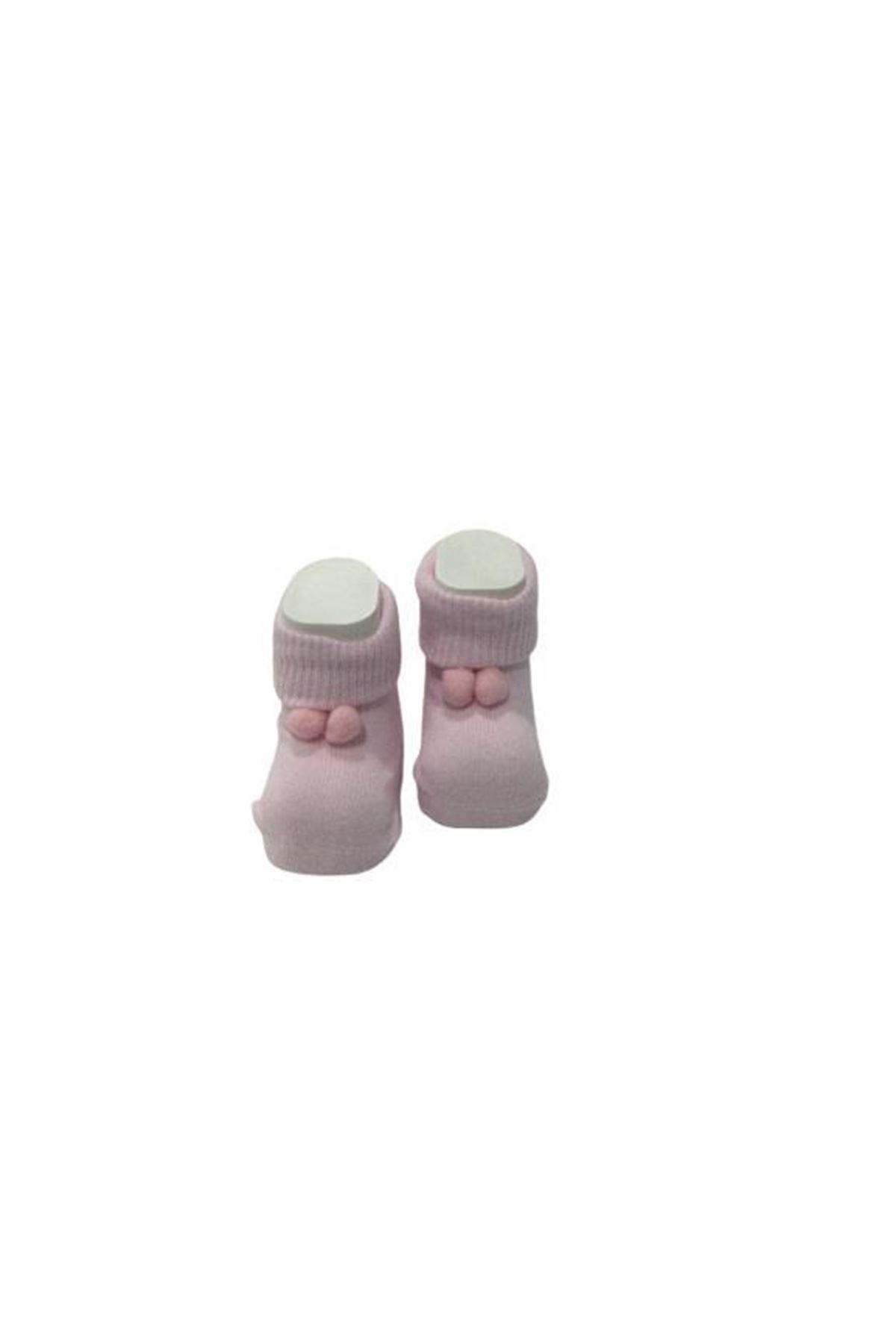 Albimini Minidamla Ponponlu Kız Patik Çorap 43723 Pembe