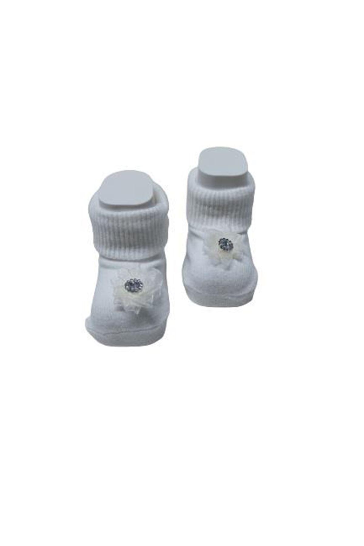 Albimini Minidamla Elmaslı Kız Patik Çorap 43741 Ekru