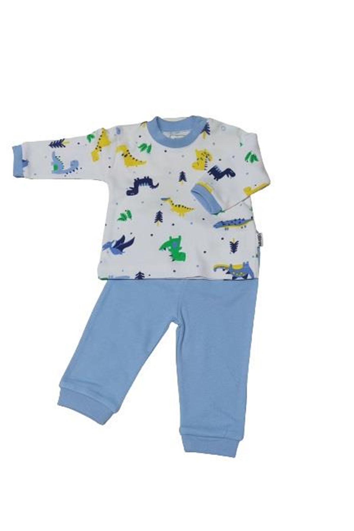 Albimini Minidamla Dinozorlu Bisiklet Yaka Bebe Pijama Takımı 11985 Mavi