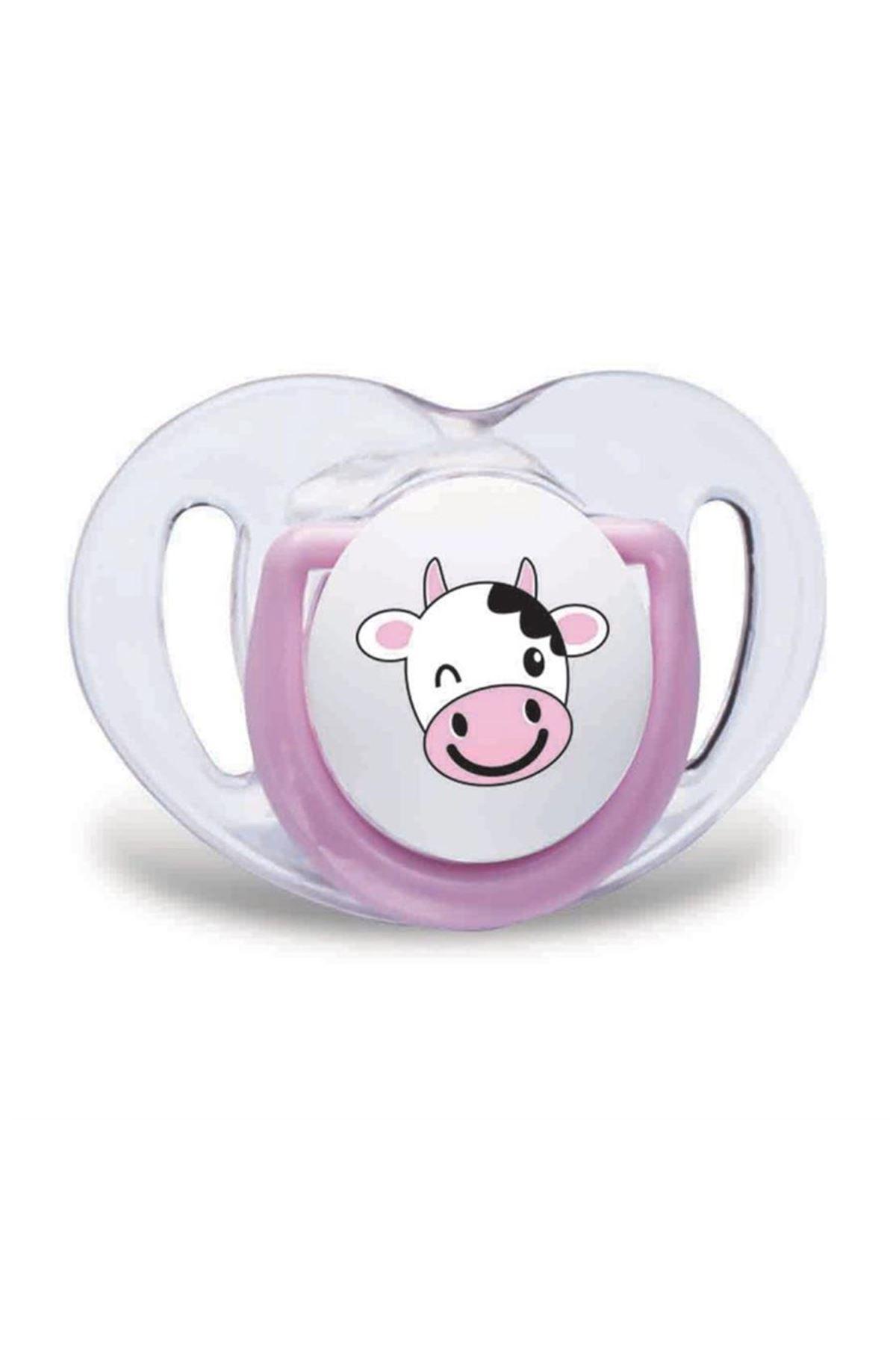 Mamajoo Silikon Ortodontik İkili Emzik Pembe İnek / 6 ay +