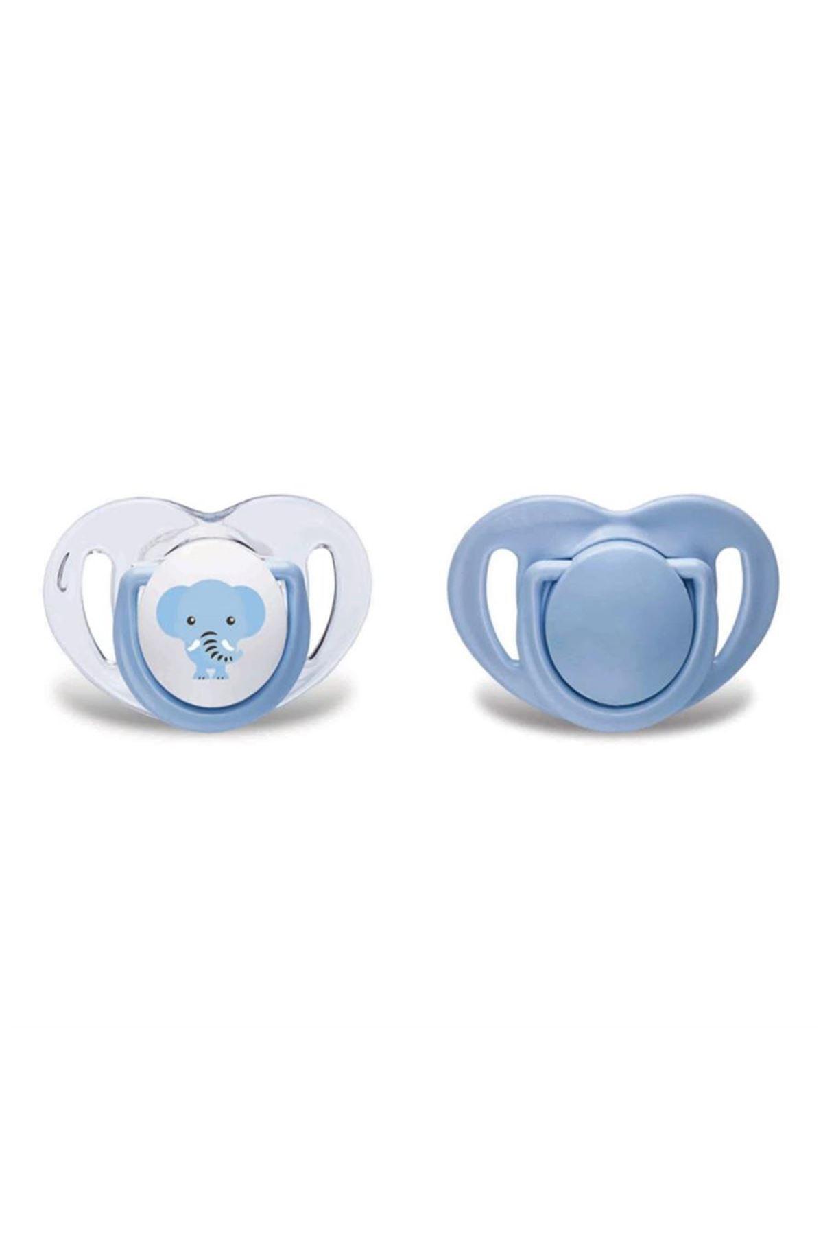 Mamajoo Silikon Ortodontik İkili Emzik Mavi Fil / 6 ay +