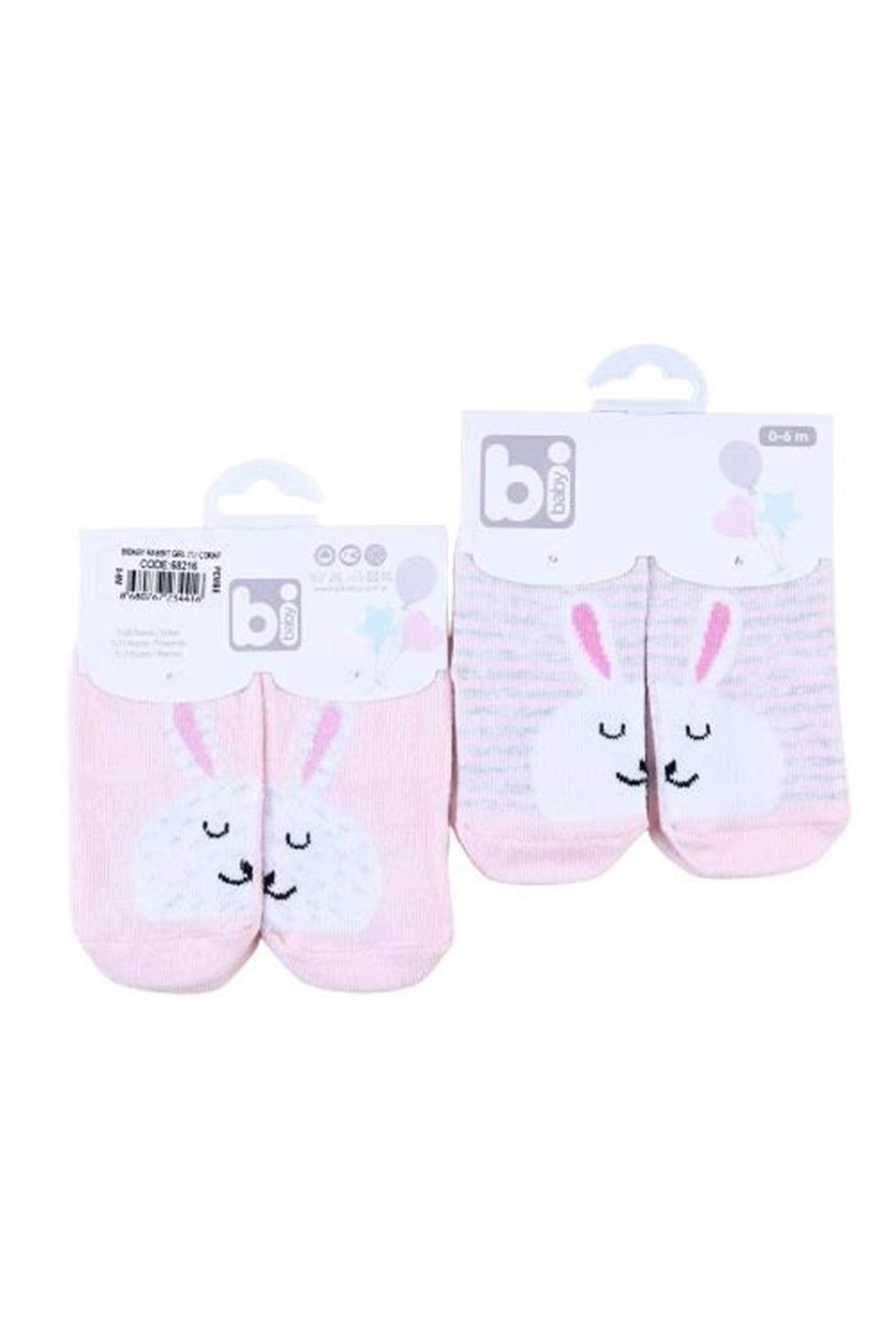 Bibaby Rabbit Kız 2li Bebe Çorap 68216 Asorti