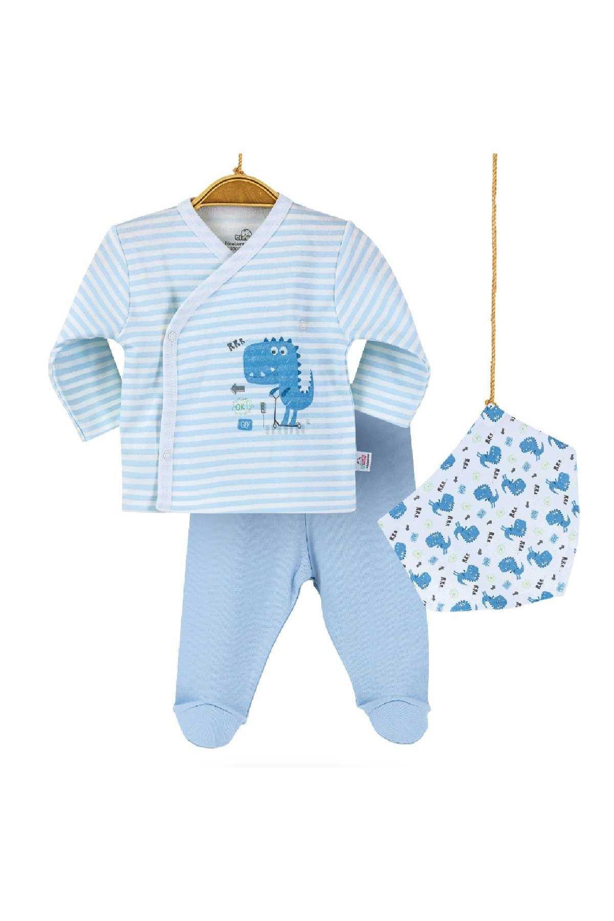 Bibaby Bimini Bluedino 3lü Zıbın Set 73201 Mavi Çizgili