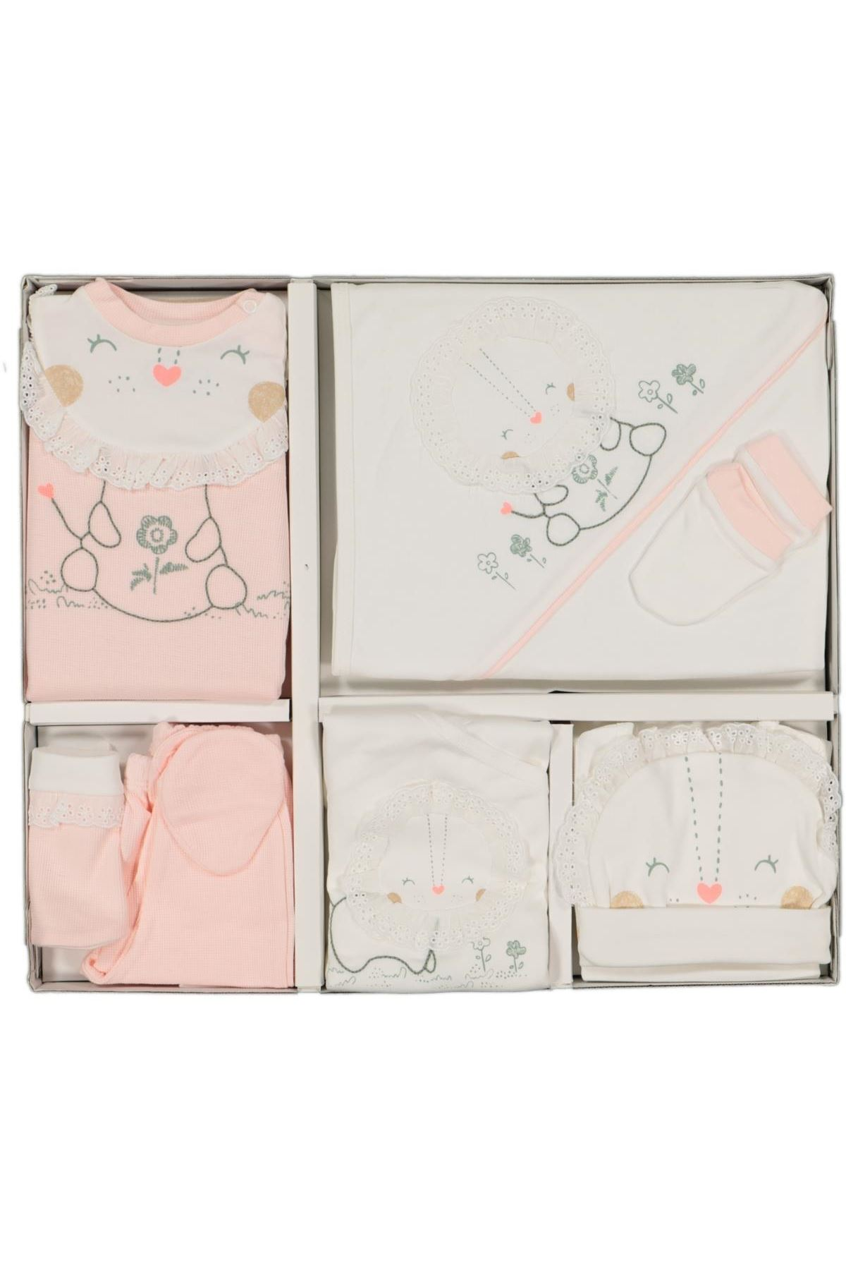 Tongs Baby Cute Baby Lion Tulumlu 10 Parça Zıbın Seti 3304 Pembe
