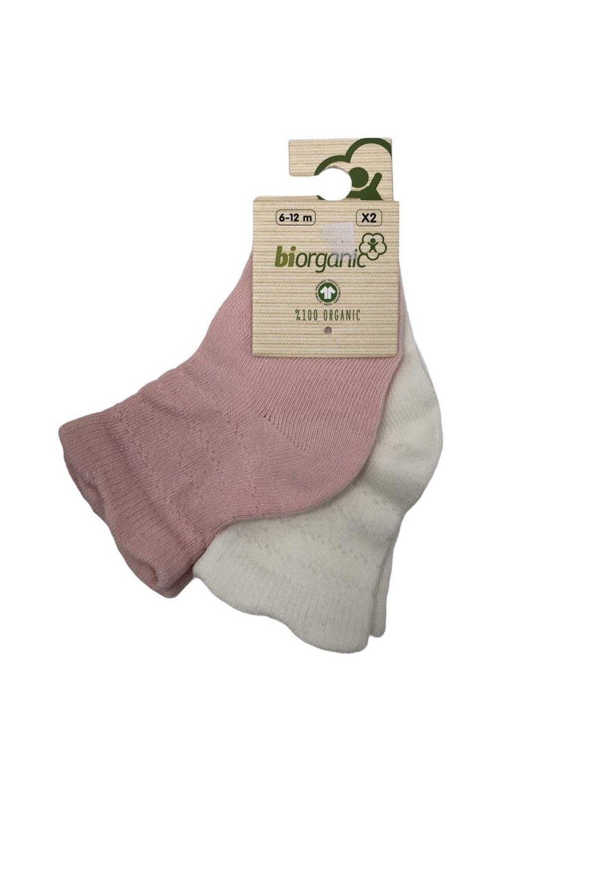 Bibaby Biorganic Desenli Basic 2li Çorap 68345 Pembe Ekru