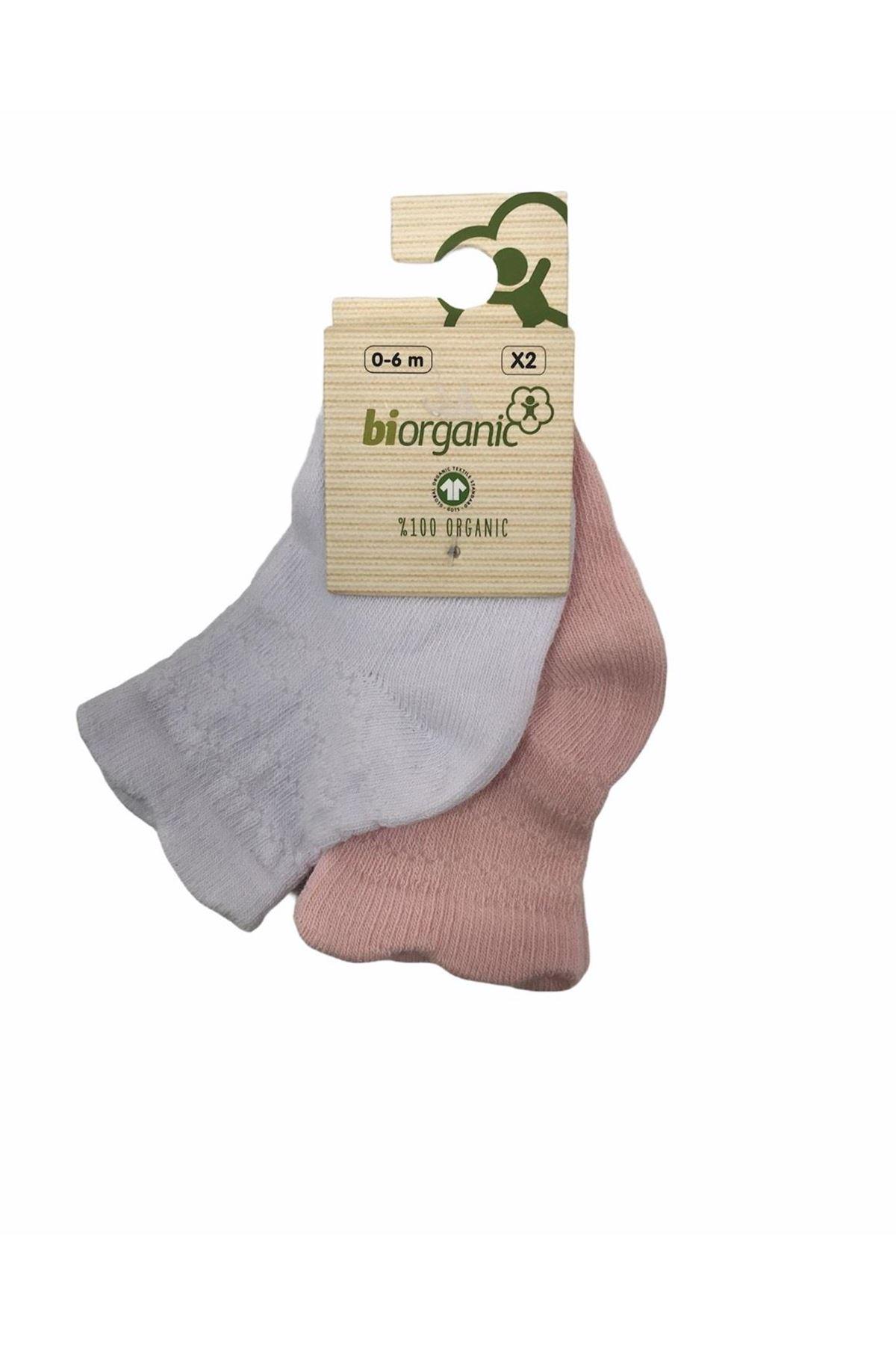 Bibaby Biorganic Desenli Basic 2li Çorap 68345 Pembe-Beyaz